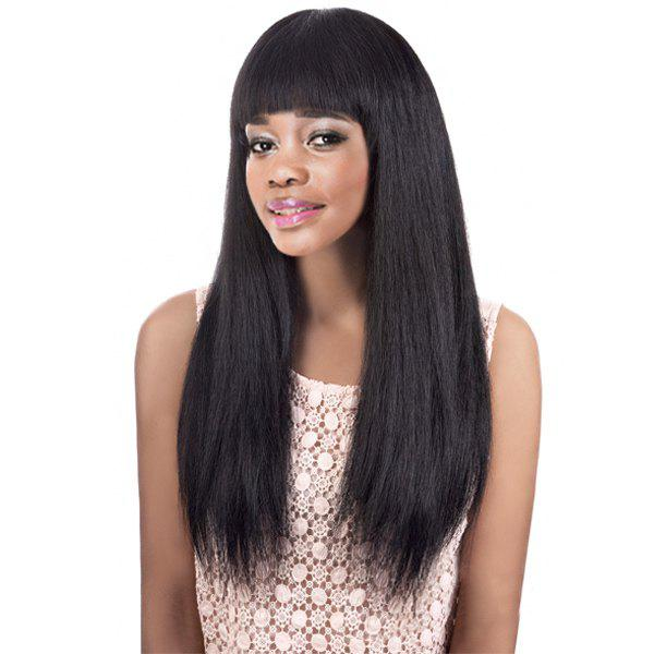 Graceful Women's Long Black Straight Full Bang Synthetic Wig -  BLACK