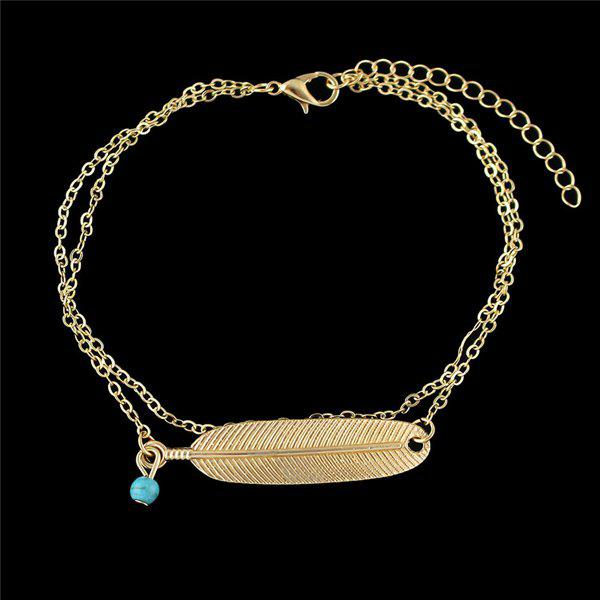 Fake Feather Layered Anklet - GOLDEN