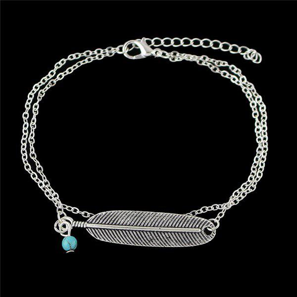 Fake Feather Layered Anklet