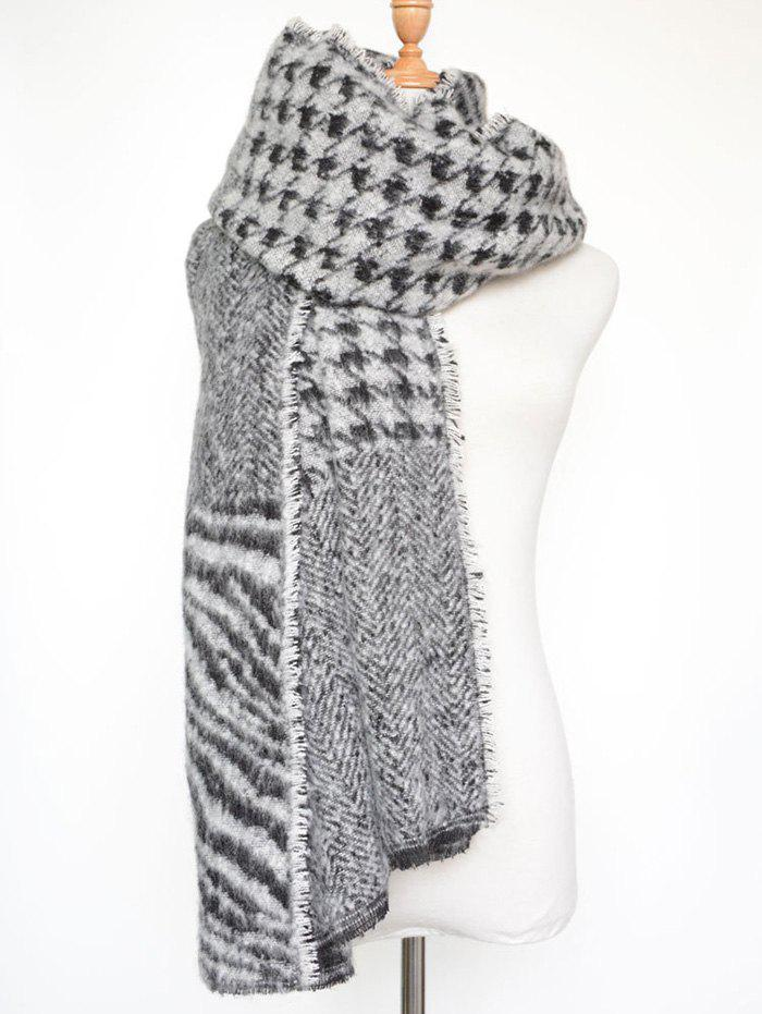 Stylish Houndstooth and Zebra Stripe Scarf