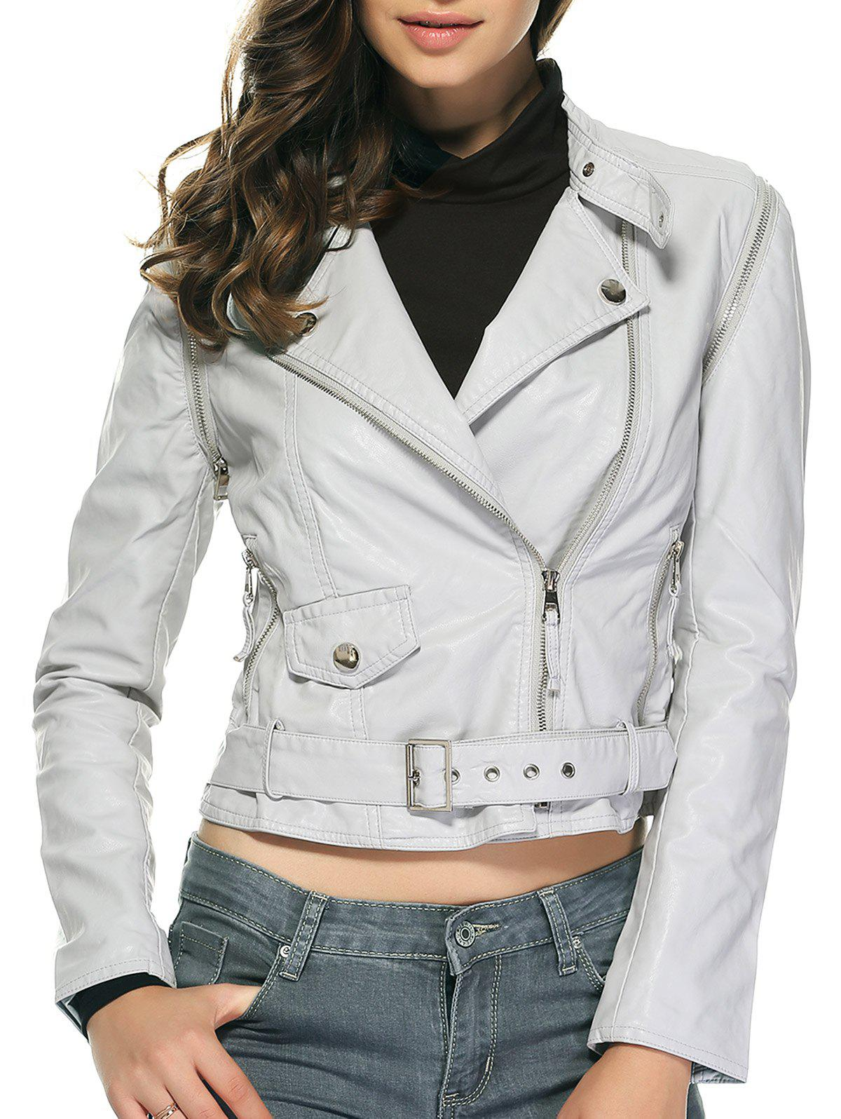 Stylish Pure Color Belted Jacket For Women - LIGHT GRAY M