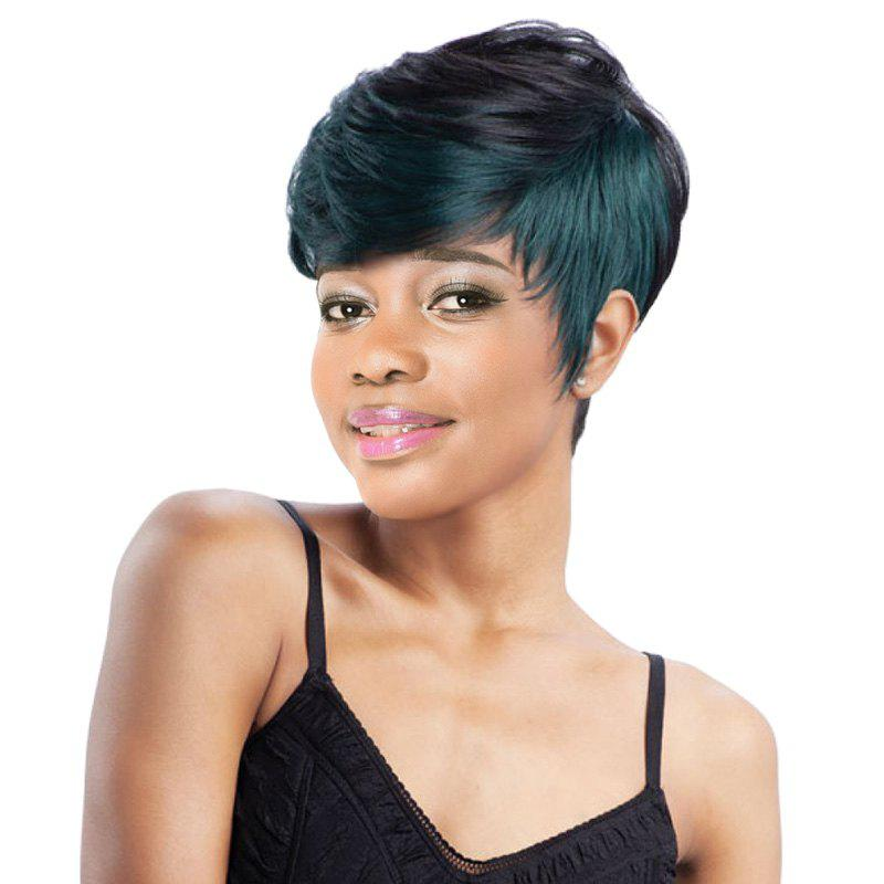 Stunning Women's Dark Green Highlights Short Fluffy Straight Side Bang Synthetic Wig - COLORMIX