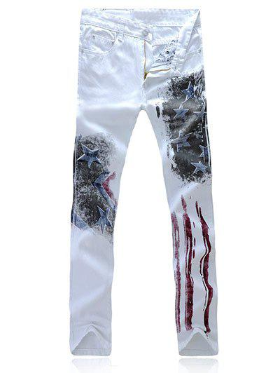 Chic Partial Striped Stars Print Casual Pants For Men - WHITE 35