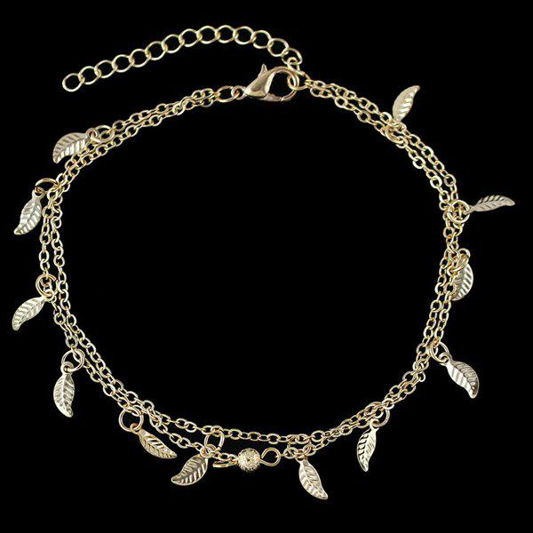 Trendy Multilayered Solid Color Micro Leaf Charm Anklet For Women