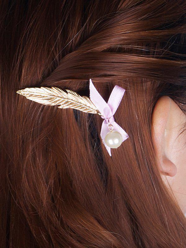 Stunning Faux Pearl Feather Bowknot Hairpin - GOLDEN
