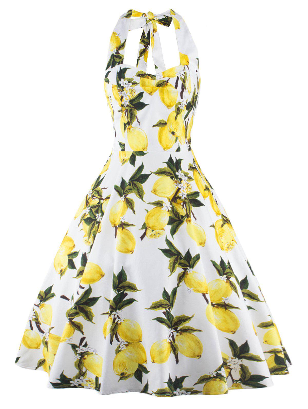 Tea Length Halter Neck Lemon Print Vintage Dress - YELLOW L