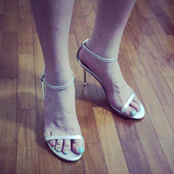 Elegant Ankle Strap and Stiletto Heel Design Sandals For Women - SILVER 39