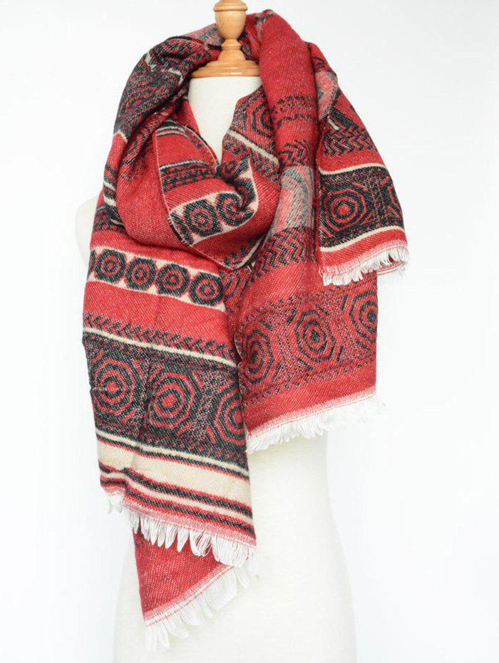 Chic Geometry Scarf - RED