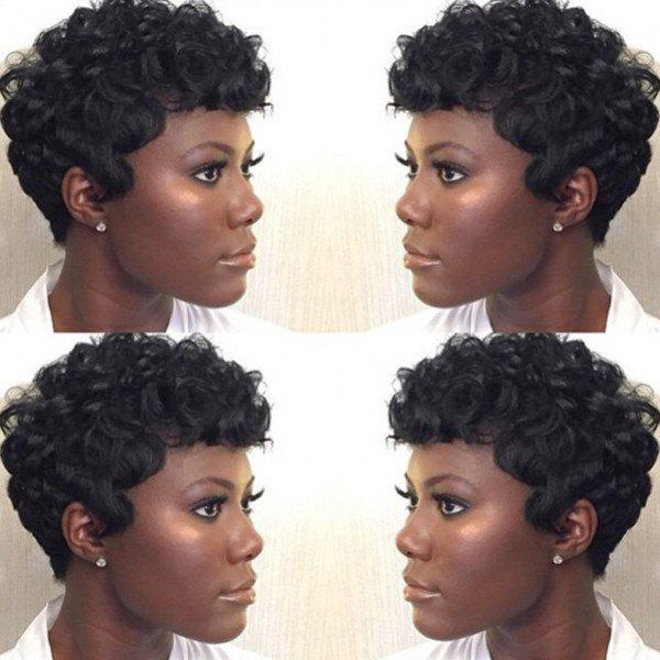 Fashion Jet Black Short Real Human Hair Towheaded Curly Capless Wig For Women - JET BLACK