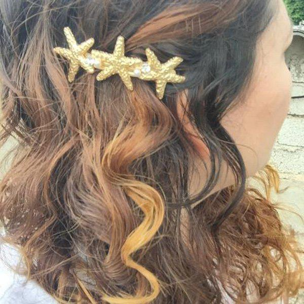 Fashion Faux Pearl Rhinestone Starfish Women's Hairgrip - GOLDEN