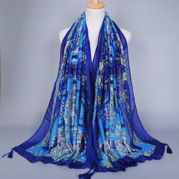 Chinese Style Dragon Totem Pattern Tassel Pendant Women's Scarf - BLUE