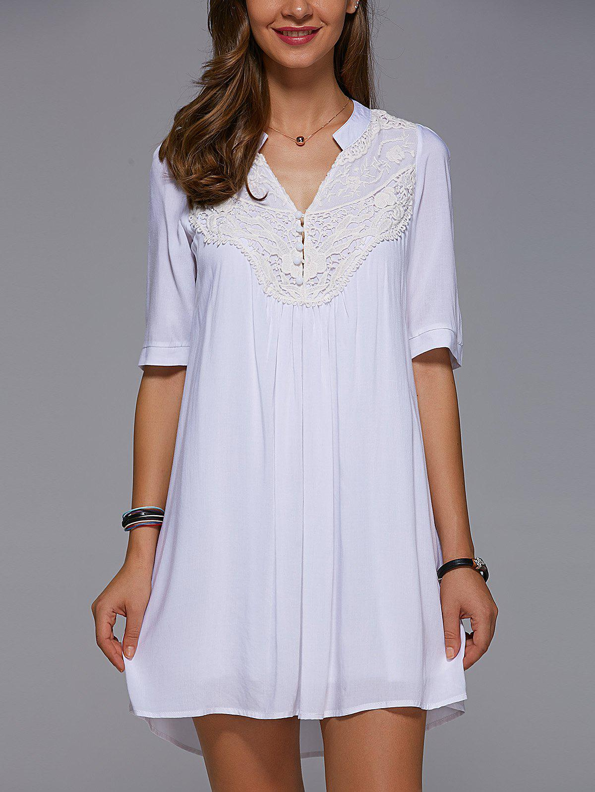 V Neck 1/2 Sleeve Lace Spliced White Mini Dress