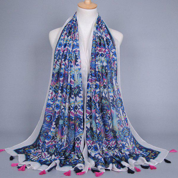 Chinese Yunnan Style Peacock Feather Pattern Tassel Pendant Women's Scarf - BLUE