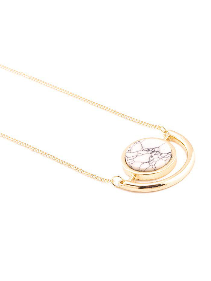 Charming Faux Rammel Round Necklace - WHITE