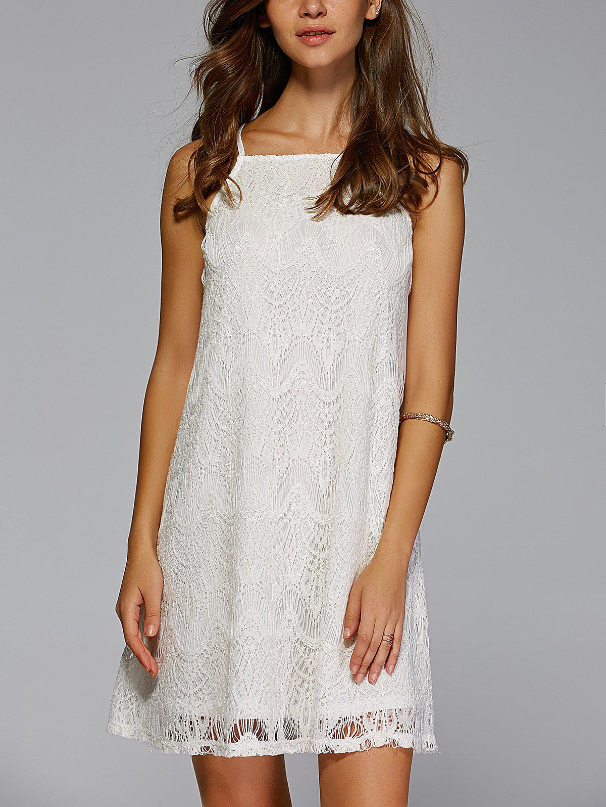 Stylish Spaghetti Strap Crochet Solid Color Mini Dress - OFF WHITE XL