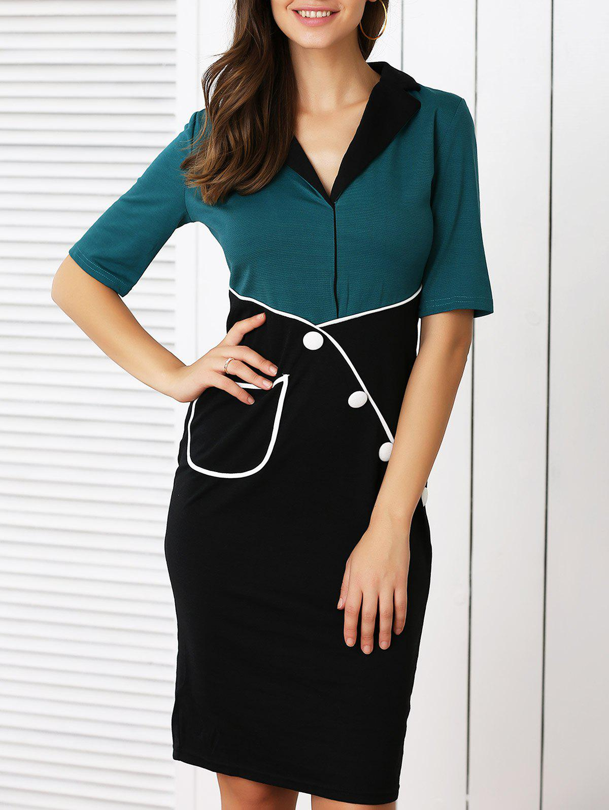 Retro Color Block Buttoned Dress For WomenWomen<br><br><br>Size: L<br>Color: BLACK AND GREEN