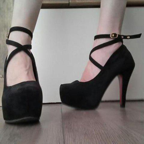 Chic Solid Color and Cross Straps Design Pumps For Women - BLACK 35