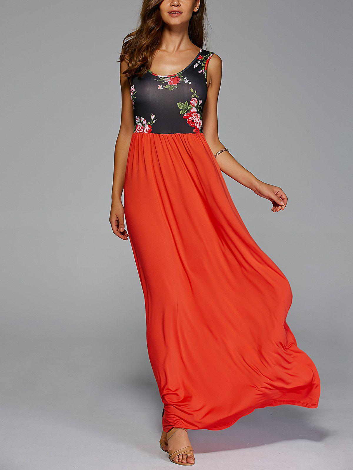 Stylish Scoop Neck Floral Print Maxi Dress