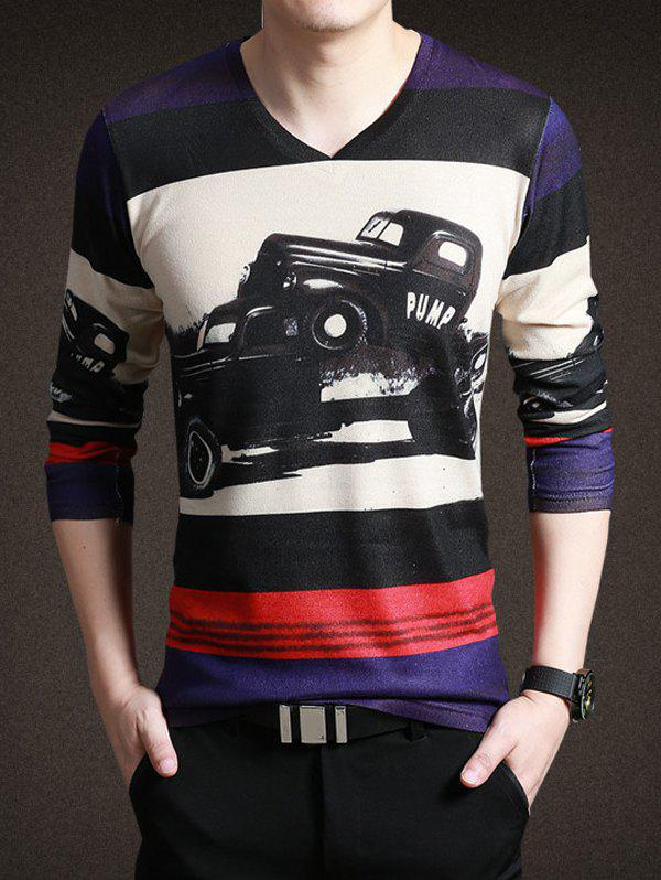 Classic Gran Torino Print Striped Long Sleeves Tee For Men