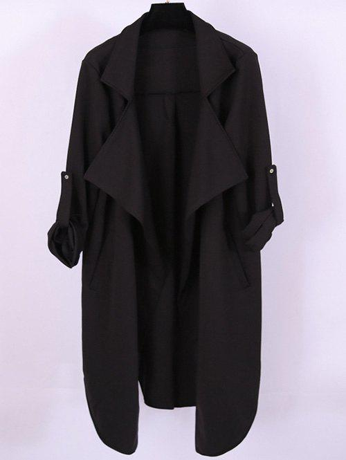 Plus Size Adjustable Sleeve Trench Coat - BLACK 2XL