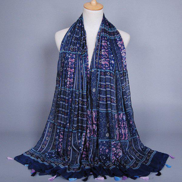 Stylish Deep Color Paisley and Rhombus Pattern Tassel Pendant Women's Voile Scarf - PURPLISH BLUE
