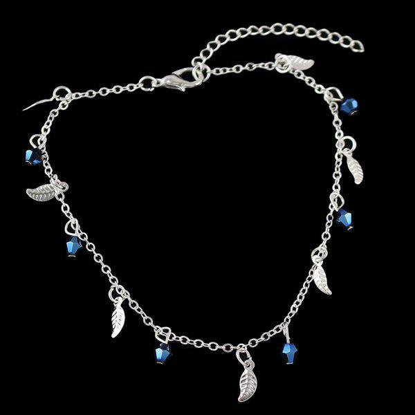 Geometric Beads Leaf Charm Anklet - SILVER