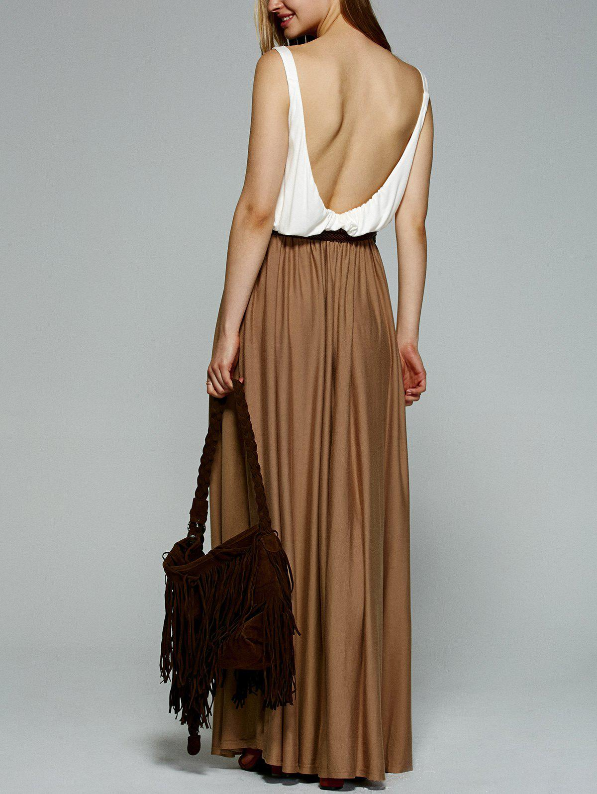 Stylish Color Splice Open Back Maxi Pleated Dress - KHAKI XL