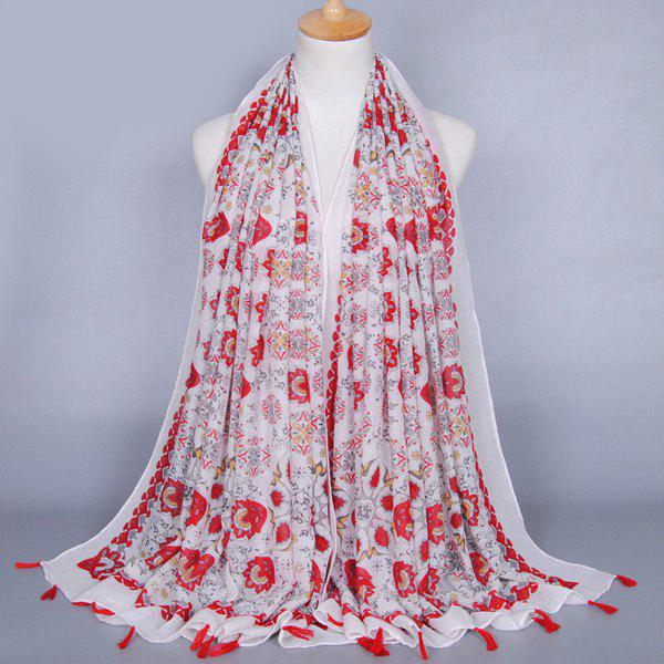 Ethnic Style Flower Doodle Pattern Tassel Pendant Women's Voile Scarf - RED