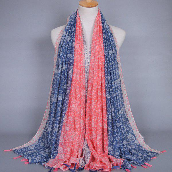 Chinese Ethnic Style Tiny Floral Pattern Tassel Pendant Women's Voile Scarf