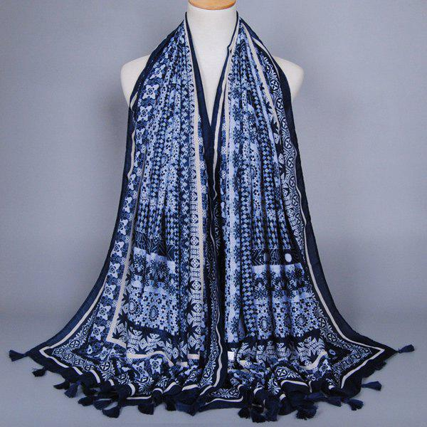 Chinese Yunnan Style Ethnic Geometry Pattern Tassel Pendant Women's Voile Scarf - PURPLISH BLUE