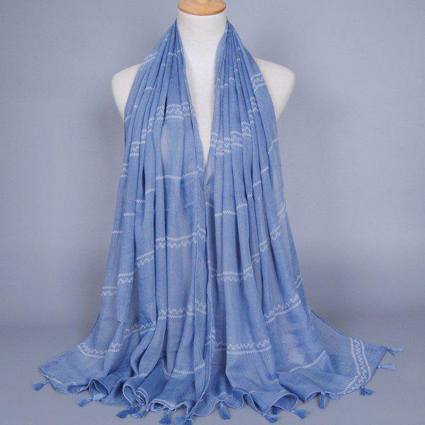 Fresh Style Wavy Stripe Pattern Tassel Pendant Women's Light Blue Voile Scarf - LIGHT BLUE