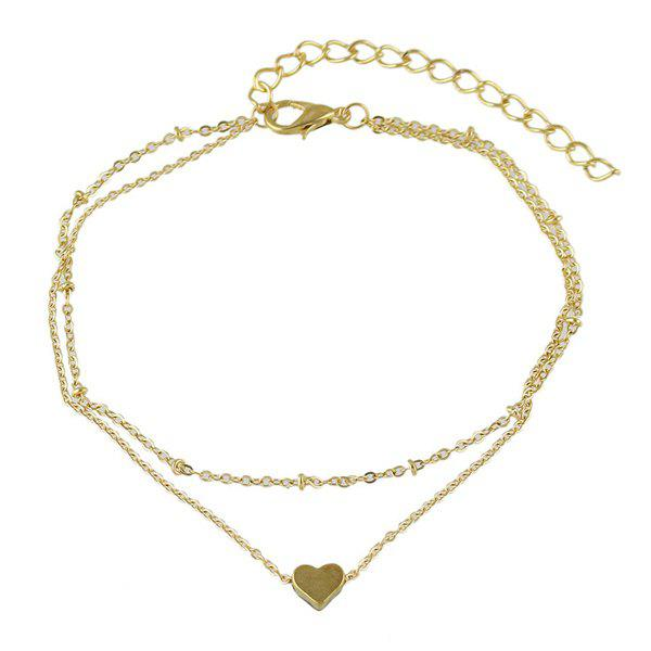 Heart Gold Plated Layered Charm Anklet - GOLDEN