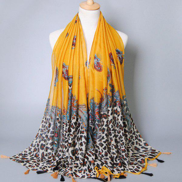 Retro Style Leopard and Paisley Pattern Tassel Pendant Women's Voile Scarf - DEEP YELLOW