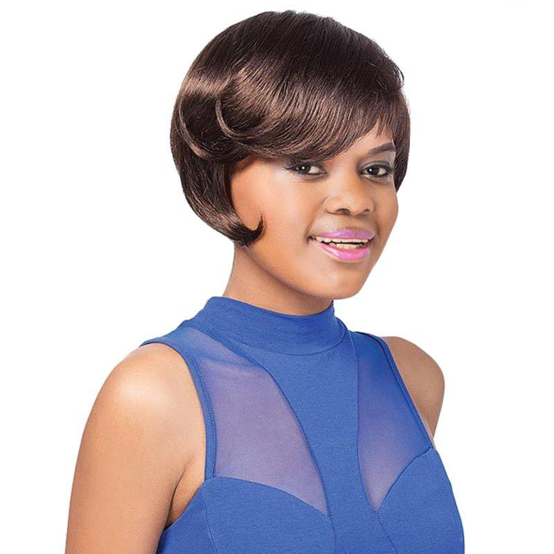 Ladylike Deep Brown Short Straight Side Bang Women's Synthetic Wig