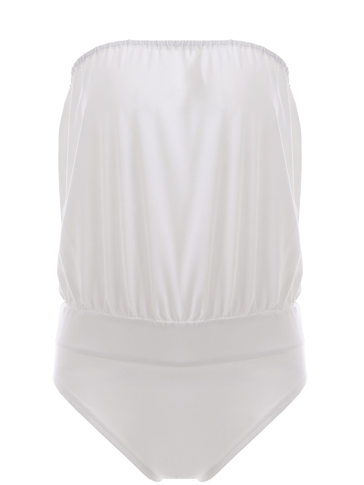 Trendy Strapless Solid Color Splicing Womens SwimwearWomen<br><br><br>Size: XL<br>Color: WHITE