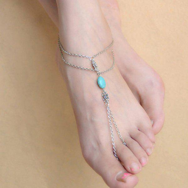 Layered Faux Turquoise Anklet with Ring - SILVER