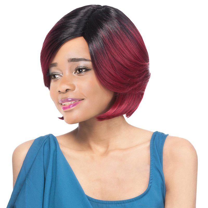 Ladylike Wine Mixed Black Short Layered Straight Side Parting Women's Synthetic Wig