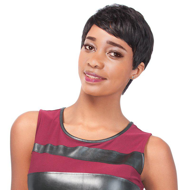 Masculine Dark Brown Ultrashort Short Straight Side Bang Women's Synthetic Wig - BLACK BROWN