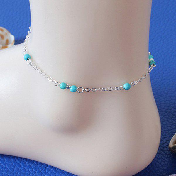 Simple Silver Plated Faux Turquoise Beads Charm Anklet For Women