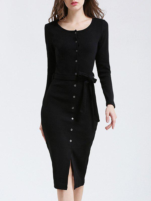 Belted Knitted Sheath Button Up Long Sleeve Dress - BLACK M