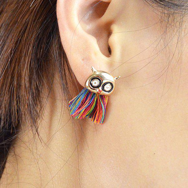 Cartoon Owl Head Colorful Thread Tassel Earrings - GOLDEN