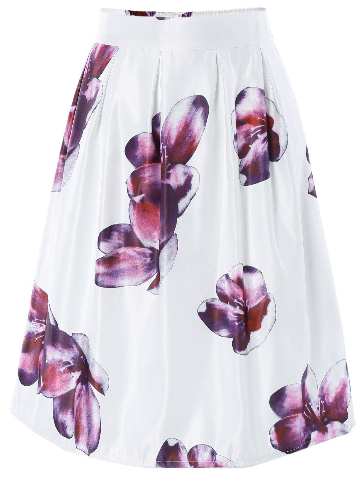 Ornate High Waist Floral Skater Skirt - WHITE ONE SIZE