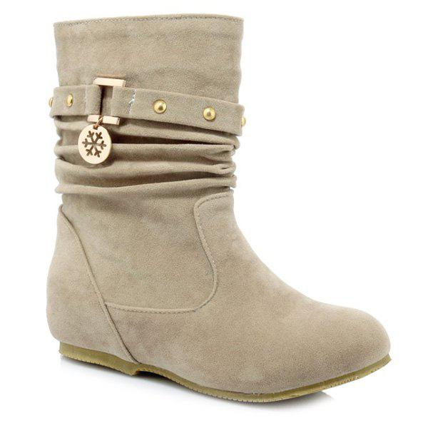 Stylish Metal and Increased Internal Design Women's Boots - LIGHT KHAKI 39