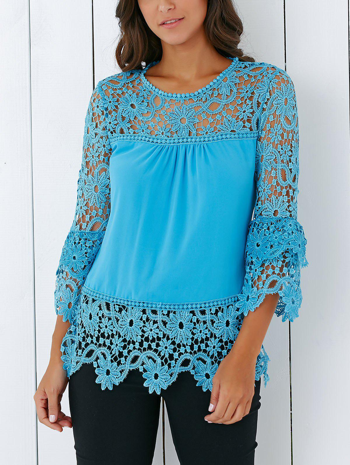 Stylish 3/4 Sleeve Lace Spliced Hollow Out Crochet Blouse