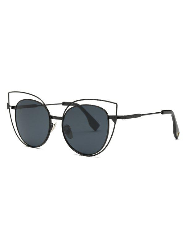 Stylish Hollow Out Black Cat Eye Sunglasses - BLACK