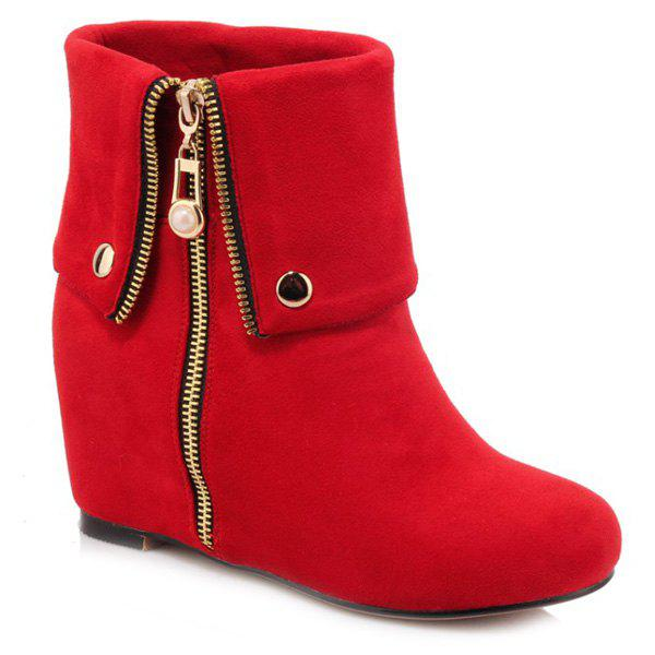 Fashionable Increased Internal and Zipper Design Women's Short Boots - RED 39