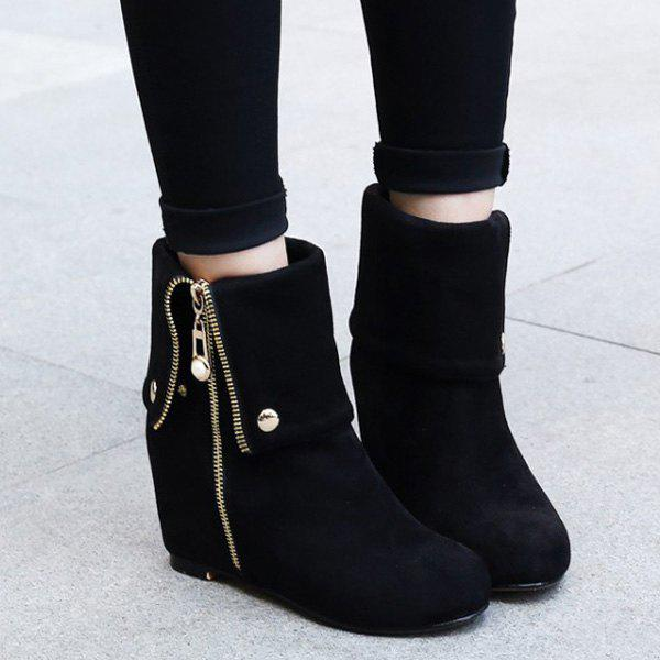 Fashionable Increased Internal and Zipper Design Women's Short Boots - BLACK 37