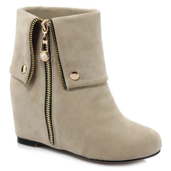 Fashionable Increased Internal and Zipper Design Women's Short Boots - LIGHT KHAKI 37