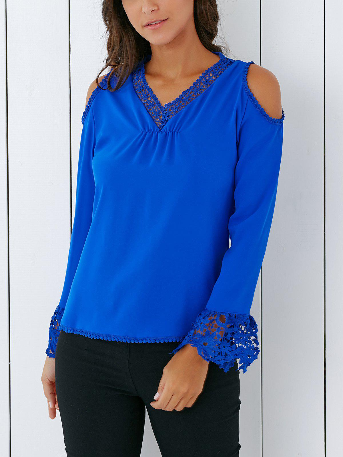 Trendy V Neck Lace Spliced Hollow Out Crochet Blouse - SAPPHIRE BLUE XL