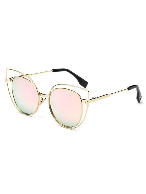 Stylish Hollow Out Cat Eye Mirrored Sunglasses - PINK